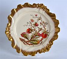 ROYAL WORCESTER FINE PLATE painted with a strawberry plant highlighted with