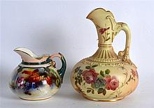 ROYAL WORCESTER HADLEYWARE SMALL SIZE JUG painted with autumnal leaves and