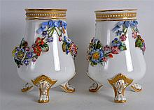 ROYAL WORCESTER RARE PAIR OF THREE FOOTED FLORAL ENCRUSTED VASES.  5
