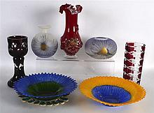 A GROUP OF VINTAGE GLASSWARE including a large bohemian beaker. (7)