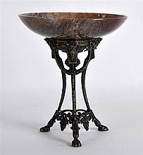 A LATE 19TH CENTURY FRENCH SILVER AND HARDSTONE TAZZA supported upon a neo