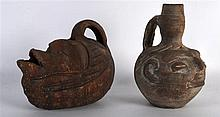 AN EARLY 20TH CENTURY SOUTH AMERICAN TERRACOTTA VESSEL together with anothe