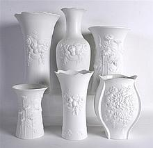 A GROUP OF SIX 1970S KAISER BLANC DE CHINE PORCELAIN VASES of various forms