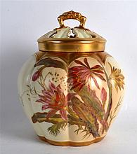 ROYAL WORCESTER POT PURRI VASE AND TWO COVERS painted with flowers on a lob
