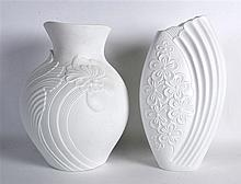 A STYLISH 1970S KAISER BLANC DE CHINE PORCELAIN VASE together with another