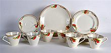 AN ART DECO JOHNSON BROTHERS PART TEA SET decorated with stylised fan shape