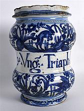 A GOOD 18TH CENTURY CONTINENTAL FAIENCE GLAZED DRUG JAR painted with rabbit