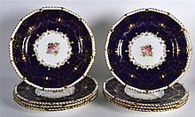 A SET OF EIGHT ROYAL CROWN DERBY PORCELAIN CABINET PLATES painted with cent