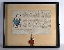 A FRAMED GEORGE III DEED with wax seal. Document 1ft 8ins x 12ins.