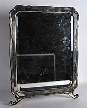 A GOOD LARGE LATE 19TH CENTURY RUSSIAN SILVER MIRROR engraved with two cres