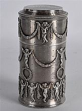A FINE QUALITY FRENCH NEO CLASSICAL CYLINDRICAL SILVER POT decorated in rel