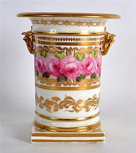 19TH C. ENGLISH PORCELAIN SPILL VASE with ring and bird head handles painte