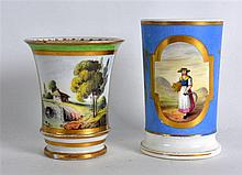 19TH C. ENGLISH PORCELAIN SPILL VASE painted with a woman with scythe on a