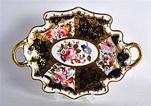 MID 19TH C. STAFFORDSHIRE PORCELAIN TWO HANDLED DISH painted with flowers i