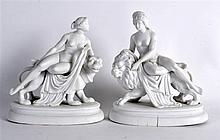 A PAIR OF 19TH CENTURY EUROPEAN PARIAN WARE FIGURES one depicting Una upon