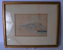 MICHELE CATTI (1855-1914), Italian, framed watercolour, signed, figures in a boast in a coastal landscape. 18 cm x 25 cm.