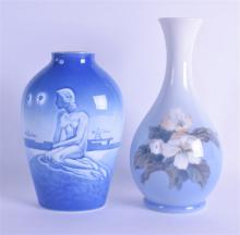 A STYLISH COPENHAGEN VASE decorated with the little mermaid, together with