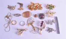 A COLLECTION OF COSTUME JEWELLERY together with a silver pencil cover etc.