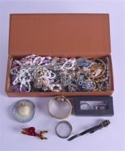 A COLLECTION OF COSTUME JEWELLERY including a coral set bangle, deer brooch