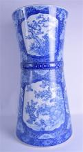 A LARGE 19TH CENTURY JAPANESE BLUE AND WHITE STICK STAND painted with birds