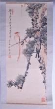 AN EARLY 20TH CENTURY JAPANESE MEIJI PERIOD INKWORK WATERCOLOUR SCROLL pain