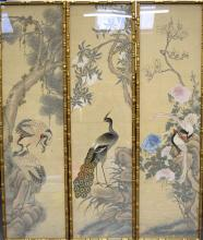 A SET OF THREE HUGE EARLY 19TH CENTURY JAPANESE EDO PERIOD FRAMED WATERCOLO