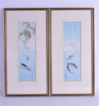 A PAIR OF JAPANESE TAISHO PERIOD WATERCOLOURS depicting carp swimming. Imag