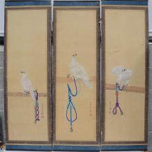 A GOOD LARGE SET OF THREE 19TH CENTURY JAPANESE MEIJI PERIOD WATER COLOURS