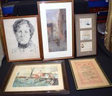 A GROUP OF FIVE PICTURES, including a sketch of a female. (5)