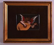 AN EARLY 20TH CENTURY GERMAN PORCELAIN FRAMED PLAQUE painted with a cherub playing an instrument. Porcelain 5ins x 3.75ins.