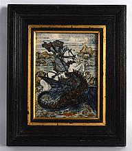 A LOVELY ANTIQUE FRAMED AND PAINTED PORCELAIN PLAQUE depicting Saint George slaying the dragon within a landscape. Plaque 4.75ins x 6.75ins.