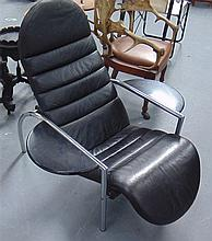 A RETRO LEATHER AND CHROME CHAIR