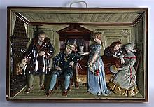 A VERY LARGE LATE 19TH CENTURY GERMAN RECTANGULAR POTTERY PANEL depicting five figures in relief within an interior. 1Ft 11ins x 1ft 3.5ins.