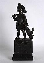 A LATE 19TH CENTURY EUROPEAN BRONZE FIGURE OF A CHILD HUNTER modelled holding a rifle in one hand, his teddy bear in the other. Signed. 10.75ins high.