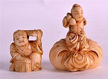 AN 18TH/19TH CENTURY JAPANESE EDO PERIOD IVORY NETSUKE together with another netsuke. 2Ins & 1.25ins high. (2)