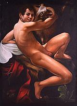 CONTINETANTAL SCHOOL, Unframed Oil on Canvas, a nude male straddling a ram,