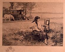 EDOUARD DEBAT-PONSAN (1847-1913), Framed Etching, Gypsy girl brushing her hair. 7.5ins x 10ins.
