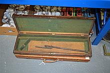AN ANTIQUE CASED AIR RIFLE, together with another leather case. (2)