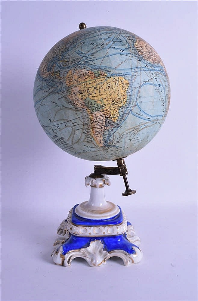 an unusual antique french globe terrestre by j forest suppo. Black Bedroom Furniture Sets. Home Design Ideas