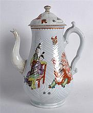 18th Century Worcester very rare coffee pot and cover painted with the Corpulent