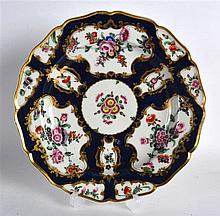 18th Century Worcester blue scale silver shaped plated painted with flowers in g