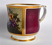 19th Century Chamberlains Worcester mug painted with flowers on a crimson ground