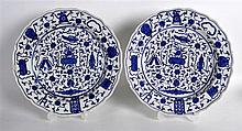 18th Century Worcester pair of plates painted with the Hundred Antiques pattern.