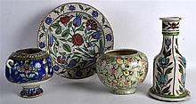 A GROUP OF 19TH CENTURY IZNIK AND PERSIAN POTTERY WARES in various forms an