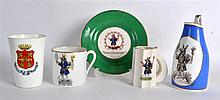 AN UNUSUAL GROUP OF 'TRUSTY SERVANT' WINCHESTER PORCELAIN WARES including a