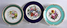19th Century  Worcester plates lavishly painted with flowers under a blue border