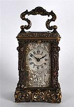 A LOVELY 19TH CENTURY FRENCH MINIATURE PALAIS ROYALE CARRIAGE CLOCK within