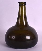 AN 18TH CENTURY OLIVE GREEN ONION BOTTLE with tapering neck and bulbous bod