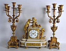 A MID 19TH CENTURY FRENCH ORMOLU AND MARBLE CLOCK GARNITURE with white enam