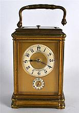 A 19TH CENTURY FRENCH PALAIS ROYAL REPEATER CARRIAGE CLOCK with two enamell